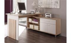 Schreibtisch MANAGER mit Sideboard in Sonoma Eiche und Weiß