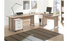 Winkelschreibtisch Office Line mit Rollcontainer Sonoma Eiche und weiß