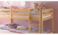 Etagenbett Hochbett Moritz Kinderzimmer Bett 90x200 Kiefer massiv natur Leiter