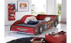Rennwagenbett Meteor Jugendbett in rot Hochglanz mit LED