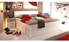 Bettanlage Mars Schlafzimmerset Bett Nachtkommode weiß Sonoma Eiche LED 180x200