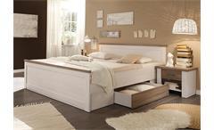 Bettanlage Luca Bett Nachtkommode Schlafzimmerbett in Pinie weiß