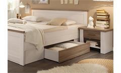 Schlafzimmer Luca Kleiderschrank Bett Nachtkommode Pinie weiß Trüffel