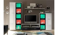 WOHNWAND ULTRA 3 ANBAUWAND IN HOCHGLANZ WEIß UND SCHWARZ MIT RGB LED