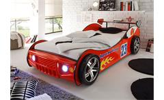Autobett Energy Kinderbett Bett Kinderzimmerbett in rot lackiert inkl. Beleuchtung 90x200