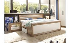 Bettanlage Fernando Bett Nachtkommode inkl. Beleuchtung Canyon Oak Weiß 180x200