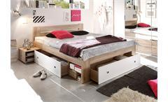 Bett Stefan Funktionsbett Schlafzimmerbett in San Remo Eiche Weiß, 140x200
