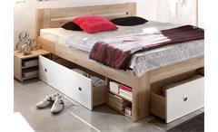 Bettanlage Stefan Bett mit 2 Nachttischen in San Remo weiß 3 Schubkästen 180x200