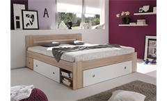 Bettanlage Stefan Bett mit 2 Nachttischen Sonoma weiß mit 3 Schubkästen 140x200