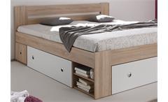 Bettanlage Stefan Bett mit 2 Nachttischen Sonoma weiß mit 3 Schubkästen 180x200