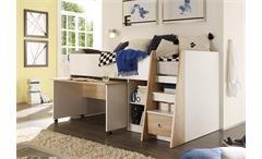 Hochbett Pierre Etagenbett Bett mit Schreibtisch in Weiß & Sonoma Eiche