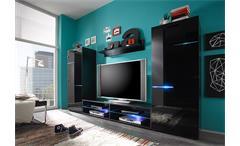 Wohnwand Light Anbauwand Wohnkombi Wohnzimmer in schwarz inkl. RGB Beleuchtung