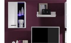 Wohnwand Final Anbauwand Wohnzimmer in weiß Tiefzieh inklusive LED
