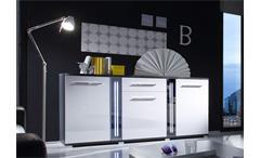 Sideboard MIRROR Weiß Hochglanz und Grau inkl. LED