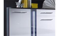 Sideboard Mirror Kommode weiß Hochglanz grau inkl. LED