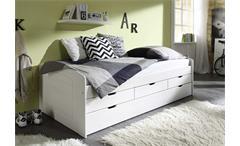 Tandemliege Jessy Bett Kinderbett in Kiefer massiv in weiß 2 Liegeflächen 90x200