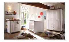 Kleiderschrank Laura Kinderzimmer Schrank Kiefer massiv in weiß und Lava 130 cm
