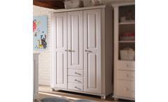 Kleiderschrank Babyzimmer LAURA Kiefer massiv weiß 3-türig