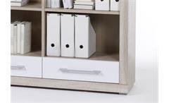 Regal Cube 4 Sideboard Bücherregal Büro weiß und Sonoma Eiche mit Schubkästen