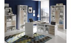 Regal Tokyo klein Bücherregal Aktenschrank Büro weiß glänzend mit San Remo Eiche