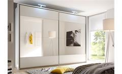 Schwebetürenschrank Helena Kleiderschrank Schrank in weiß mit Spiegel 315 cm