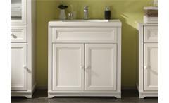 Waschtisch Jasmin Badezimmer Schrank mit Waschbecken Lärche weiß Landhaus