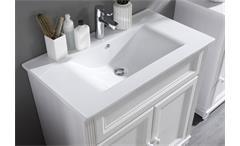 Badezimmer Jasmin 5-tlg. Waschbecken Schrank Spiegel in Lärche weiß Landhaus
