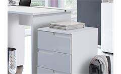 Büro Set Spice Büromöbel Schreibtisch Rollcontainer Schrank MDF weiß Hochglanz