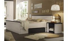 Bett mit Nachtkommoden Luca Pinie weiß Touchwood 180x200
