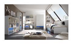 Kleiderschrank Colori Drehtürenschrank Schrank weiß und Glas blau grau 100 cm