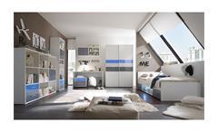 Schwebetürenschrank Colori Kleiderschrank Schrank weiß und Glas blau grau 125 cm