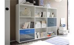 Regal breit Colori Bücherregal Schrank weiß und Glas blau grau mit 7 Fächern