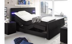 Boxspringbett Nebraska Bett Doppelbett in schwarz mit Motor LED und Topper 180