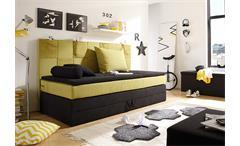 Boxspringbett Kid Poket Bett Kinderbett in schwarz grün-gelb mit Topper 90x200