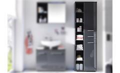 Hochschrank Grey Badezimmer Bad Schrank Regal grau glänzend mit Glasböden
