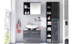 3-tlg Badezimmer-Set Grey 2 Spiegel Schränke grau Front glänzend mit Beleuchtung