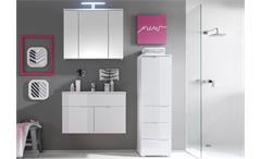 Badezimmerset SPICE 3 Teile in weiß Hochglanz mit Waschbecken