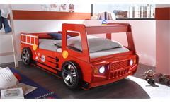 Feuerwehrbett Spark Kinderbett Bett Kinderzimmerbett rot lackiert inkl. Beleuchtung