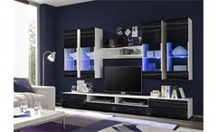Wohnwand Attac 4 Anbauwand Wohnzimmer Sahara schwarz 3D Folie weiß mit LED