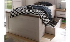 Jugendbett Luca Jugendzimmer Pinie weiß Absetzung Trüffel mit Bettschubkasten
