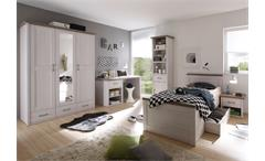 Jugendzimmer Luca 5-teilig Pinie weiß Kleiderschrank Jugendbett Schreibtisch Regal