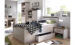 Jugendzimmer Luca 7- teilig Pinie weiß mit Schreibtisch Regal TV-Board Highboard