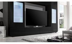 Mediawand Kino 2 Wohnwand Anbauwand Mediacenter schwarz hochglanz mit LED