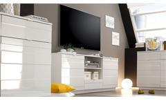 Lowboard RELIEF TV-Board in weiß Hochglanz Reliefoptik