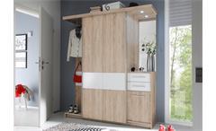 Kompaktgarderobe Swing Garderobe Flurmöbel Sonoma Eiche weiß mit LED