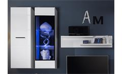 Wohnwand Attenzione Anbauwand Wohnzimmer Wohnkombi weiß Hochglanz mit LED