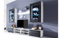 Wohnwand 2 Sahara Anbauwand Wohnzimmer in schwarz und weiß mit 3D-Folie und LED