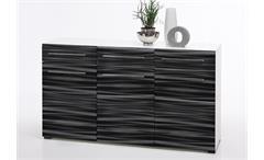 Sideboard Sahara Anrichte Kommode in schwarz und weiß mit 3D-Folie