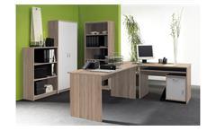 Büro OFFICE COMPACT Komplettset in Sonoma Eiche und weiß 5-teilig