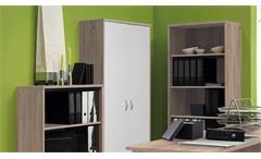 Büro Office Compact Komplettset Büroprogramm in Sonoma Eiche und weiß 5-teilig
